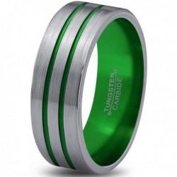 Вольфрамовое Матовое Обручальное (свадебное) кольцо 6мм (мужское, женское), двойная зеленая линия