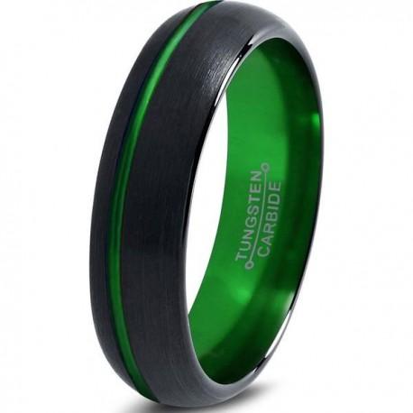 Вольфрамовое Матовое Обручальное (свадебное) кольцо 6мм (мужское, женское) черно зелёное со смещенной линией
