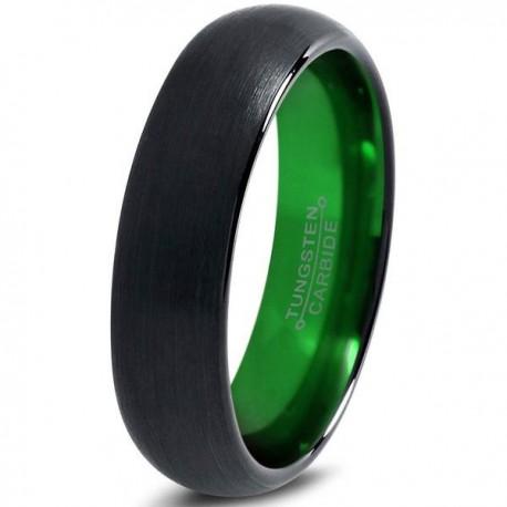 Вольфрамовое Матовое Обручальное (свадебное) кольцо 6мм (мужское, женское) черно зелёное