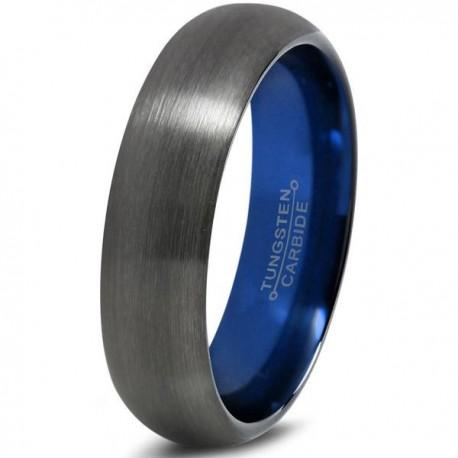 Вольфрамовое Матовое Обручальное (свадебное) кольцо 6мм (мужское, женское) , цвет Gunmetal , синее внутри