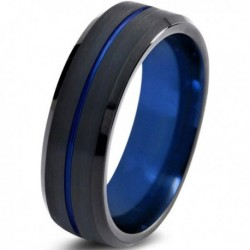 Вольфрамовое Матовое Обручальное (свадебное) кольцо 4мм (мужское, женское) черно синее , линия по центру