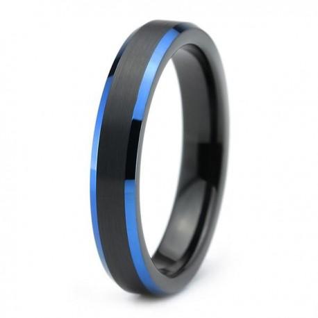 Вольфрамовое Матовое Обручальное (свадебное) кольцо 4мм (мужское, женское) черно синее