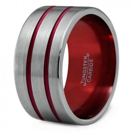 Вольфрамовое Широкое Обручальное (свадебное) кольцо 12мм (мужское, женское) двойная красная линия