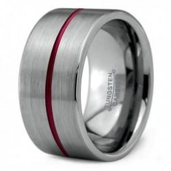 Вольфрамовое Широкое Обручальное (свадебное) кольцо 12мм (мужское, женское) , красная линия по центру