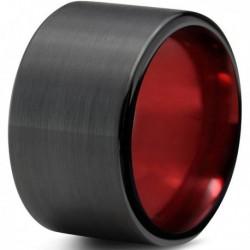 Вольфрамовое Широкое Обручальное (свадебное) кольцо 12мм (мужское, женское) черно красное
