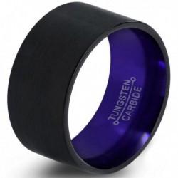 Вольфрамовое широкое Обручальное (свадебное) кольцо 12мм (мужское, женское) черно фиолетовое
