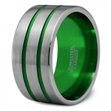 Вольфрамовое Широкое Обручальное (свадебное) кольцо 12мм (мужское, женское), двойная зеленая линия