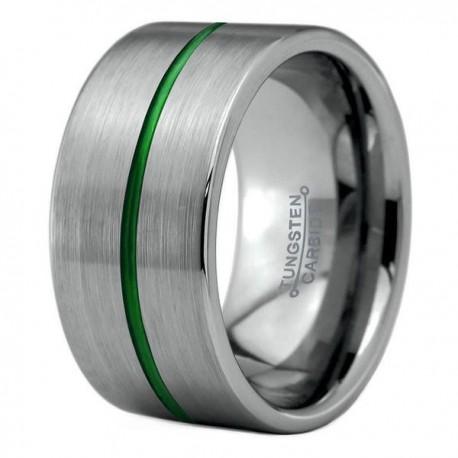 Вольфрамовое Широкое Обручальное (свадебное) кольцо 12мм (мужское, женское), зеленая линия по центру
