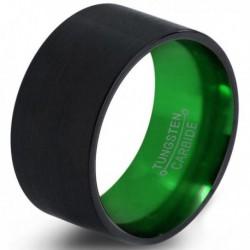 Вольфрамовое Широкое Обручальное (свадебное) кольцо 12мм (мужское, женское) черно зелёное