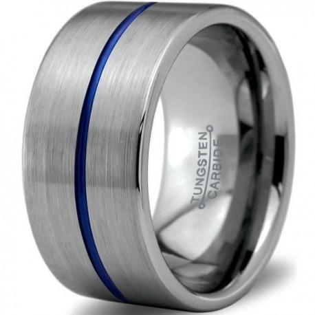 Вольфрамовое Широкое Обручальное (свадебное) кольцо 12мм (мужское, женское) с синим навылением