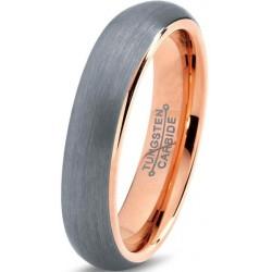 Вольфрамовое с покрытием 18к розовым золотом 4мм Обручальное (свадебное) кольцо