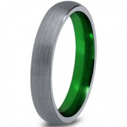 Вольфрамовое Матовое Обручальное (свадебное) кольцо 4мм (мужское, женское) с зеленым напылением