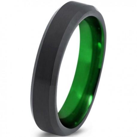 Вольфрамовое Матовое Обручальное (свадебное) кольцо 4мм (мужское, женское) черно зелёное