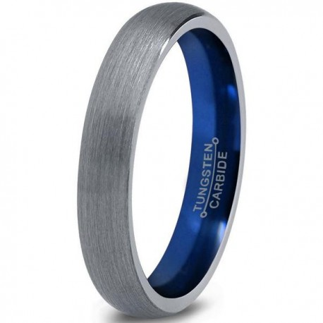 Вольфрамовое Матовое Обручальное (свадебное) кольцо 4мм (мужское, женское) с синим навылением