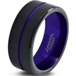 Вольфрамовое Матовое Обручальное (свадебное) кольцо 10мм (мужское, женское) черно фиолетовое , линия по центру
