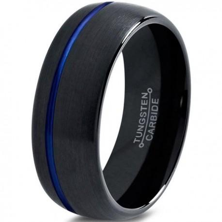 Вольфрамовое Матовое Обручальное (свадебное) кольцо 10мм (мужское, женское) черное с синей линией