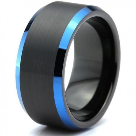Вольфрамовое Матовое Обручальное (свадебное) кольцо 10мм (мужское, женское) черно синее