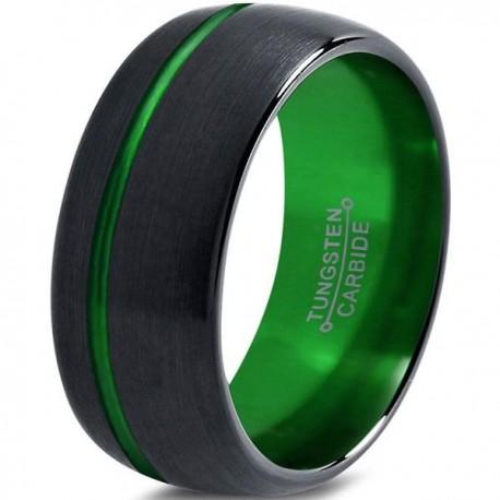 Вольфрамовое Матовое Обручальное (свадебное) кольцо 10мм (мужское, женское) черно зелёное, со смещенной линией