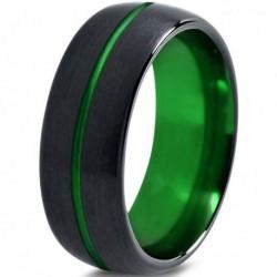 Вольфрамовое Матовое Обручальное (свадебное) кольцо 10мм (мужское, женское) черно зелёное, линия по центру