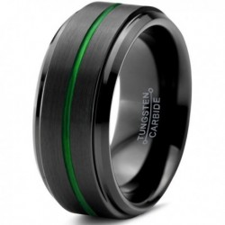 Вольфрамовое Матовое Обручальное (свадебное) кольцо 10мм (мужское, женское) черно зелёное , линия по центру