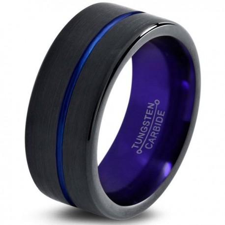 Вольфрамовое Матовое Обручальное (свадебное) кольцо 10мм (мужское, женское) черно фиолетовое