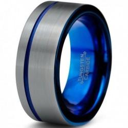 Вольфрамовое Матовое Обручальное (свадебное) кольцо 8 мм (мужское, женское), с синим навылением