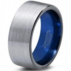 Вольфрамовое Матовое Обручальное (свадебное) кольцо 10мм (мужское, женское) с синим навылением