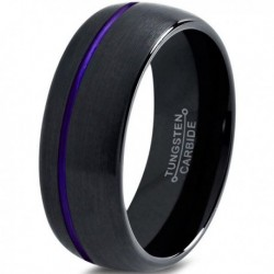 Вольфрамовое Матовое Обручальное (свадебное) кольцо 10мм (мужское, женское) с фиолетовой линией