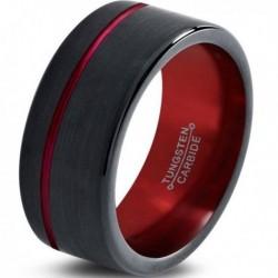 Вольфрамовое Матовое Обручальное (свадебное) кольцо 10мм (мужское, женское) черно красное, со смещенной линией