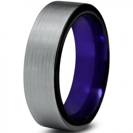 Вольфрамовое Матовое Обручальное (свадебное) кольцо 6мм (мужское, женское)фиолетовое вгутри