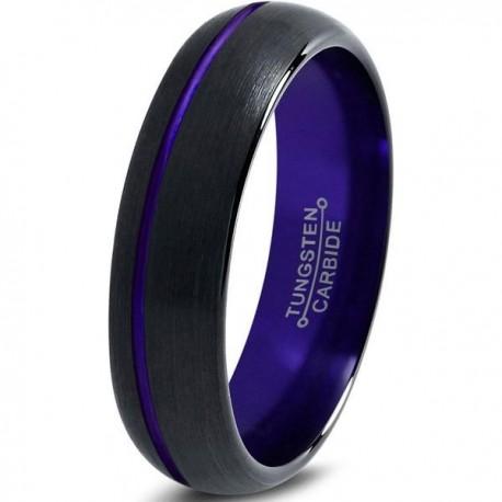 Вольфрамовое Матовое Обручальное (свадебное) кольцо 6мм (мужское, женское) черно фиолетовое со смещенной линией