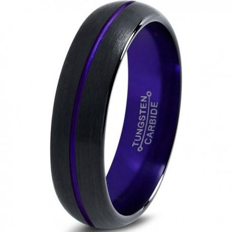 Вольфрамовое Матовое Обручальное (свадебное) кольцо 6мм (мужское, женское) черно фиолетовое , линия по центру CJ8856-A