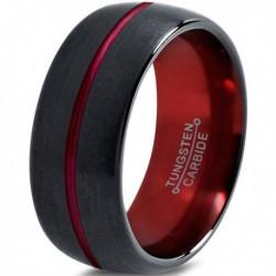 Вольфрамовое Матовое Обручальное (свадебное) кольцо 10мм (мужское, женское), линия по центру, черно красное, линия по центру