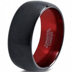 Вольфрамовое Черное Матовое Обручальное (свадебное) кольцо 10мм (мужское, женское), черно красное