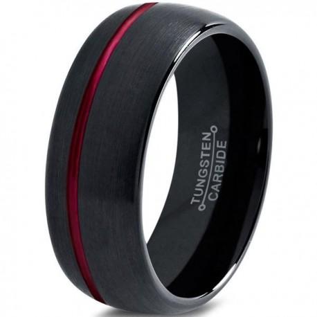 Вольфрамовое Матовое Обручальное (свадебное) кольцо 10мм (мужское, женское), черно красное, со смещенной линией