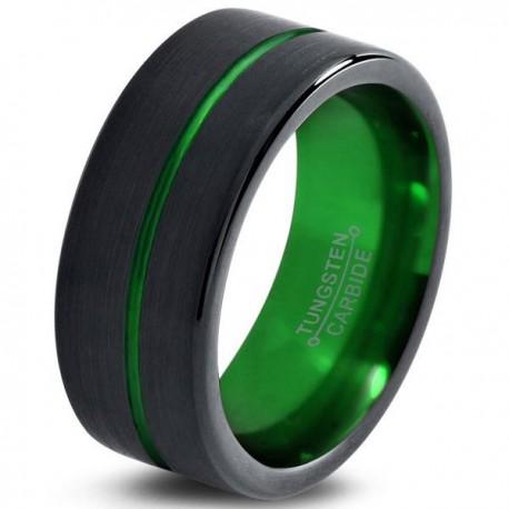 Вольфрамовое Матовое Обручальное (свадебное) кольцо 10мм (мужское, женское) черно зелёное