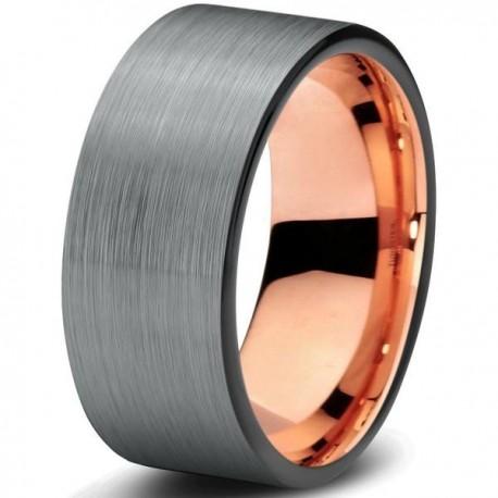 Вольфрамовое Матовое Обручальное (свадебное) кольцо 8мм (мужское, женское) с покрытием 18к розовым золотом