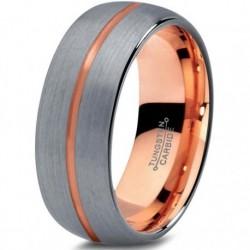 Вольфрамовое Матовое Обручальное (свадебное) кольцо 8мм (мужское, женское) с покрытием 18к розовым золотом, линия по центру