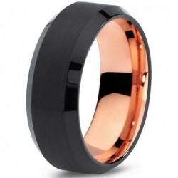 Вольфрамовое Матовое Черное Обручальное (свадебное) кольцо 8мм (мужское, женское) с покрытием 18к розовым золотом