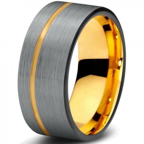 Вольфрамовое Матовое Обручальное (свадебное) кольцо 9мм (мужское, женское) с покрытием из желтого золота, со смещенной линией