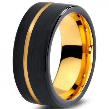 Вольфрамовое Черное Матовое Обручальное (свадебное) кольцо 9мм (мужское, женское) с покрытием из желтого золота