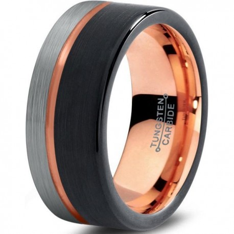 Вольфрамовое Матовое Обручальное (свадебное) кольцо 9мм (мужское, женское) с покрытием 18к розовым золотом
