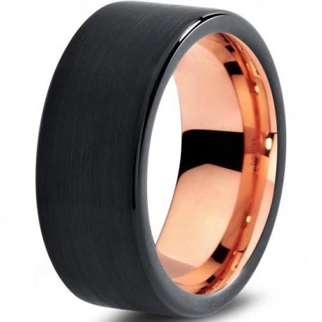 Вольфрамовое Черное Матовое Обручальное (свадебное) кольцо 8мм (мужское, женское) с покрытием 18к розовым золотом