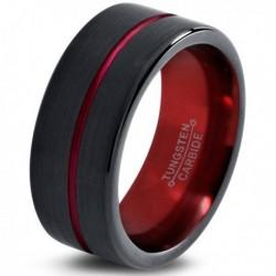 Вольфрамовое Матовое Обручальное (свадебное) кольцо 10мм (мужское, женское), черно красное