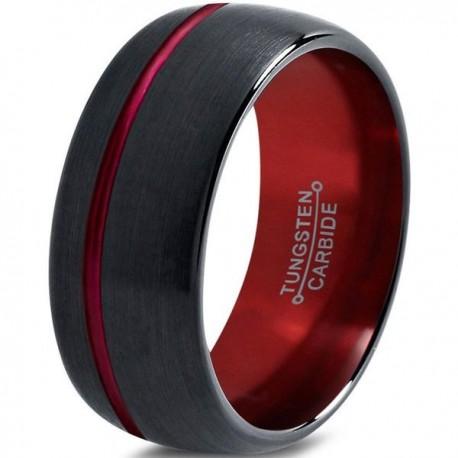 Вольфрамовое Матовое Обручальное (свадебное) кольцо 10мм (мужское, женское), со смещенной линией, черно красное