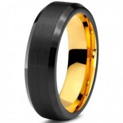 Вольфрамовое Черное Матовое Обручальное (свадебное) кольцо 6мм 8мм