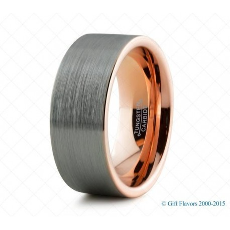 Вольфрамовое Обручальное (свадебное) (свадебное) Матовое кольцо с покрытием 18к розовым золотом 9мм