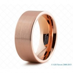 Вольфрамовое Матовое Обручальное (свадебное) кольцо с покрытием 18к розовым золотом 9мм