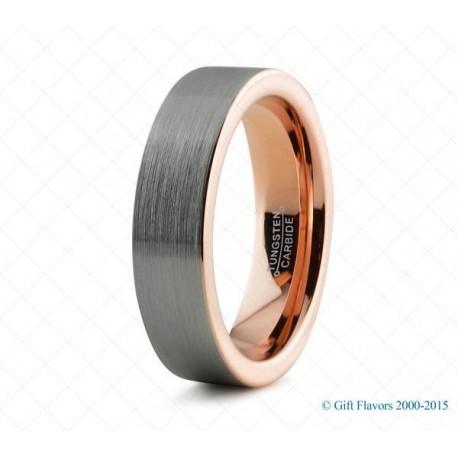 Вольфрамовое Обручальное (свадебное) кольцо с покрытием 18к розовым золотом 6мм