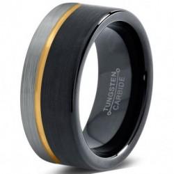 Вольфрамовое Матовое Обручальное (свадебное) кольцо 8мм (мужское, женское) с покрытием из желтого золота, со смещенной линией